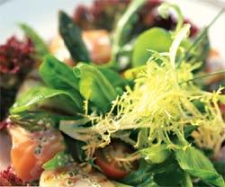 Королевский салат из копченого лосося и гребешков (Английская кухня).